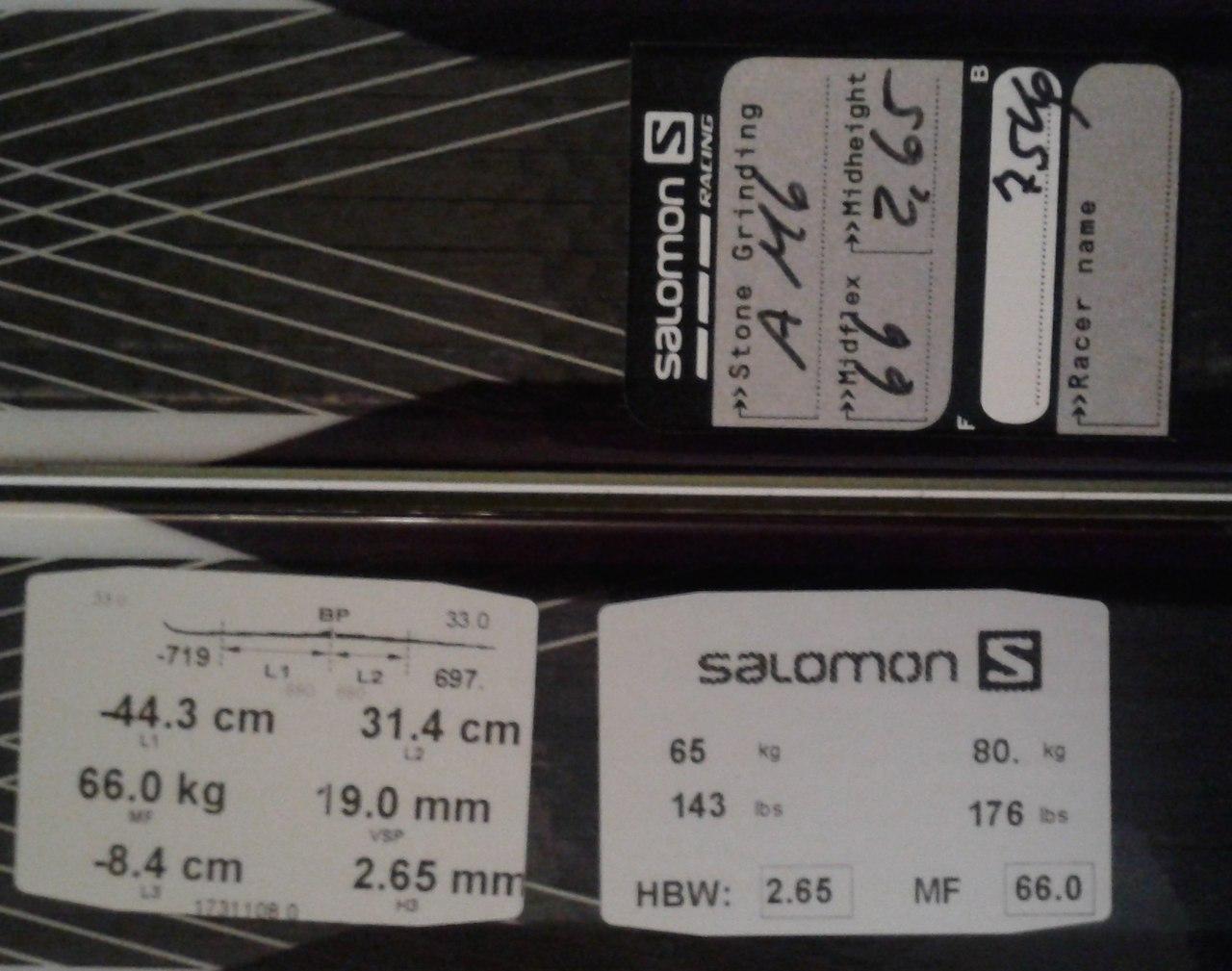 Структуры скользящей поверхности, серийные номера и коды на лыжах Salomon